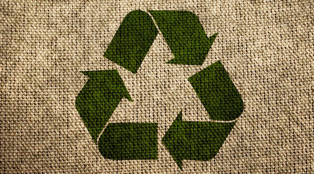 Hemp cloth with recycling icon sustainability