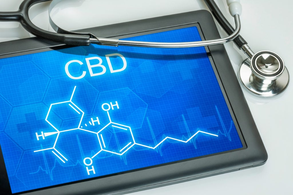 Tablet with CBD and stethoscope