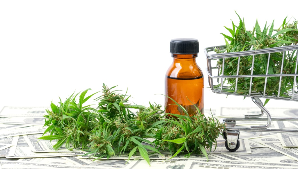 CBD oil, shopping cart and money. WHy is CBD so expensive